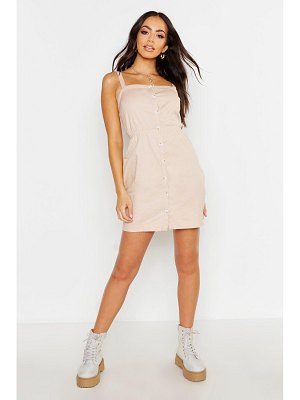 Boohoo Button Through Cotton Pinafore Dress