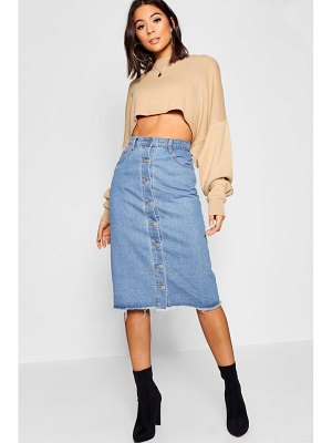 Boohoo Button Through Denim Midi Skirt