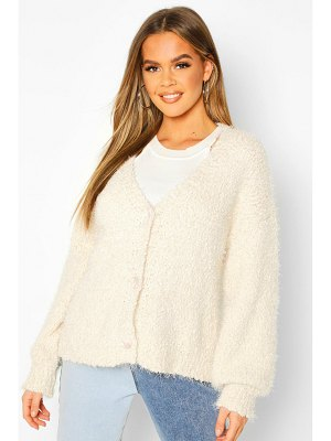 Boohoo Button Through Fluffy Texture Knit Cardigan