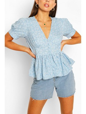 Boohoo Button Through Peplum Puff Sleeve Woven Top
