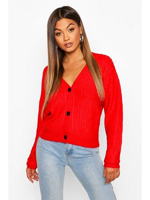 Boohoo Button Through Rib Knit Cardigan