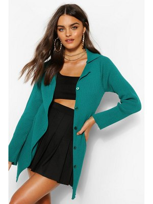 Boohoo Button Through Rib Knit Polo Collar Cardigan
