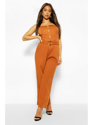 Boohoo Button Through Strappy Belted Wide Leg Jumpsuit