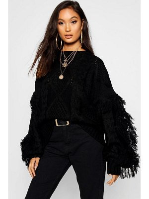 Boohoo Cable Fringe Knit sweater