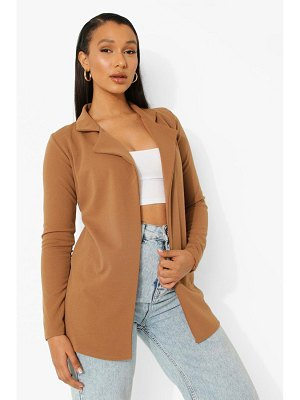 Boohoo Camel Longline Fitted Blazer