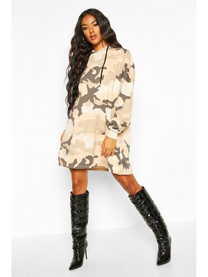 Boohoo Camo Hooded Sweatshirt Dress