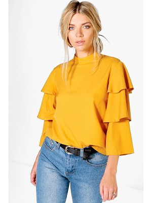 Boohoo Tiered Sleeve High Neck Top