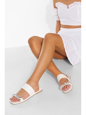 Boohoo Chain Detail Double Strap Jelly Croc Mule