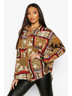 Boohoo Chain Print Oversized Shirt