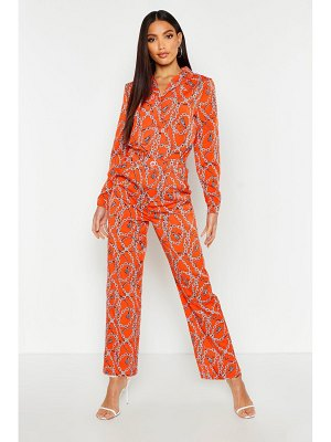 Boohoo Chain Print Satin Shirt
