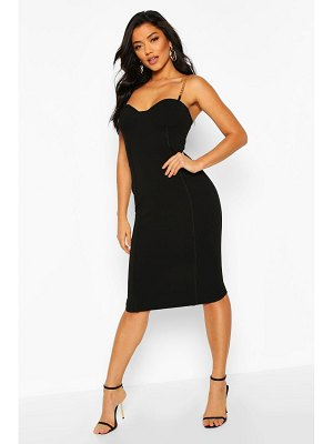 Boohoo Chain Strap Cup Front Bodycon Dress
