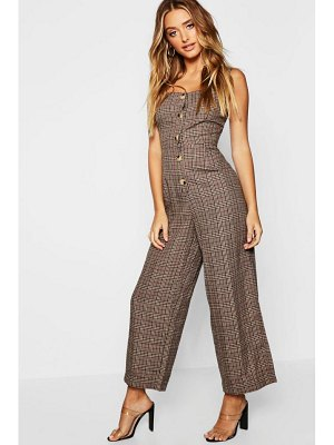 Boohoo Check Button Pinafore Jumpsuit