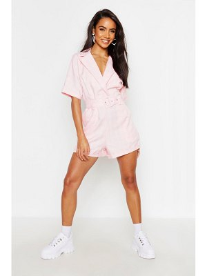 Boohoo flannel Tailored Self Belt Romper