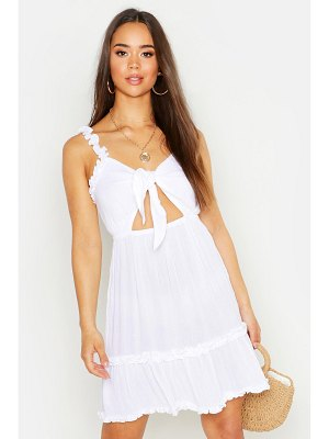Boohoo Cheese Cloth Tie Front Mini Dress