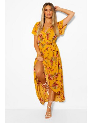 Boohoo Cheesecloth Floral Wrap High Low Maxi Dress