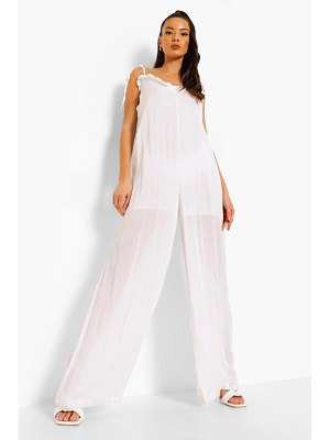 Boohoo Cheesecloth Low Back Wide Leg Jumpsuit