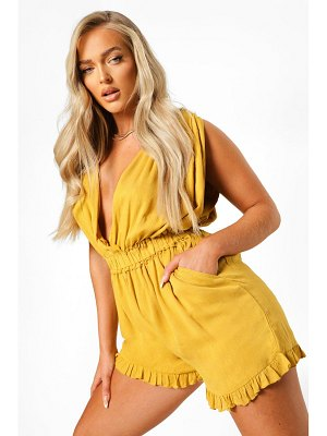 Boohoo Cheesecloth Rouched Wrap Romper