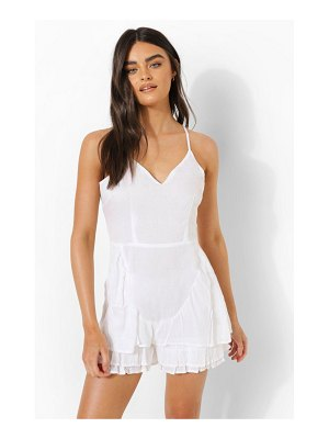 Boohoo Cheesecloth Ruffle Strappy Romper