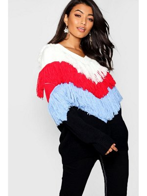 Boohoo Chevron Fringe Knit Jumper