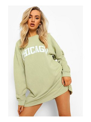 Boohoo Chicago Slogan Washed Sweater Dress