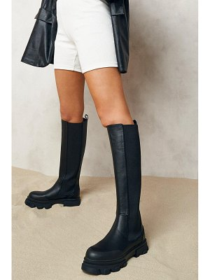 Boohoo Chunky Cleated Sole Knee High Chelsea Boots