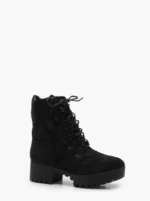 Boohoo Chunky Zip and Lace Up Hiker Boots