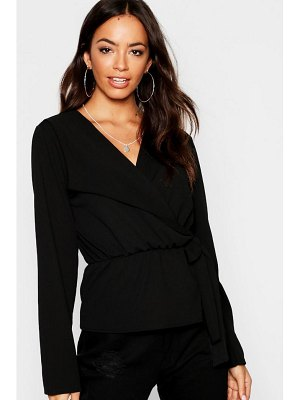 Boohoo Collar Detail Tie Waist Top