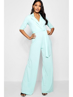 Boohoo Collared Belted Wide Leg Jumpsuit