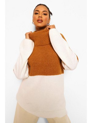 Boohoo Colour Block Oversized Knitted Sweater