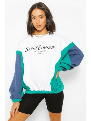 Boohoo Colour Block Slogan Printed Sweatshirter