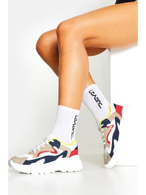 Boohoo Colourblock Panel Chunky Sole Lace Up Sneakers