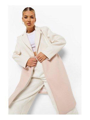 Boohoo Colourblock Wool Look Coat