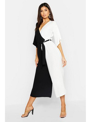 Boohoo Contrast Belted Wrap Jumpsuit