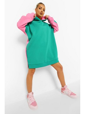 Boohoo Contrast Colour Block Hoodie Dress