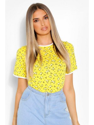 Boohoo Contrast Ditsy Floral Ringer T-Shirt