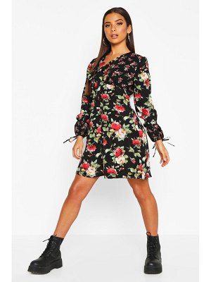 Boohoo Contrast Floral Pussybow Smock Dress