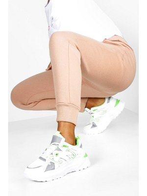 Boohoo Contrast Panel Lace Up Chunky Sneakers