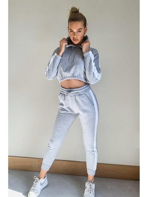 Boohoo Contrast Panelled Crop Hooded Tracksuit