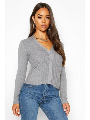 Boohoo Contrast Rib Button Through Cardigan