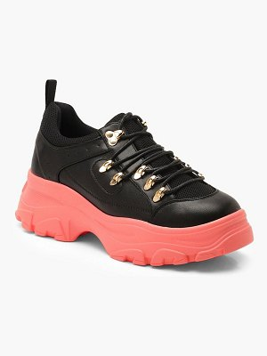 Boohoo Contrast Sole Lace Up Chunky Hiker Sneakers