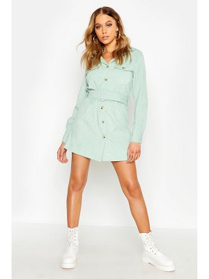 Boohoo Cord Belted Shirt Dress