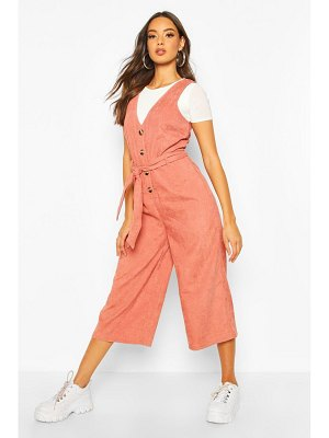 Boohoo Cord Button Front Culotte Pinafore Jumpsuit