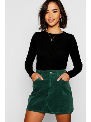 Boohoo Cord Denim Mini Skirt