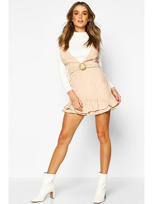 Boohoo Cord Frill Hem Belted Mini Dress