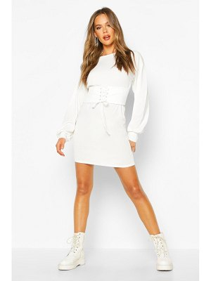 Boohoo Corset Detail Rib Long Sleeve Mini Dress