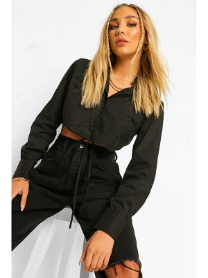 Boohoo Cotton Mix Tie Back Shirt