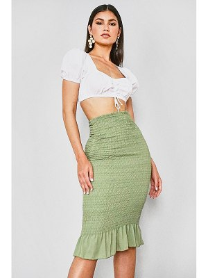 Boohoo Cotton Poplin Shirred Midi Skirt