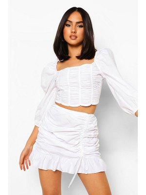 Boohoo Cotton Ruched Side Frill Mini Skirt
