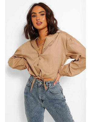Boohoo Cotton Tie Front Shirt