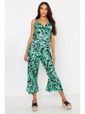 Boohoo Cowl Front Backless Satin Tiger Culotte Jumpsuit